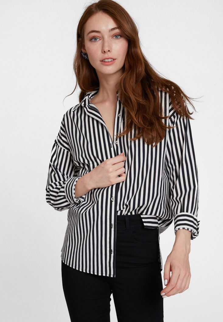 Black Cotton Shirt with Stripe