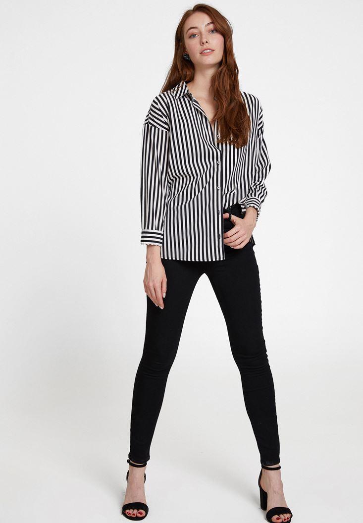 Çizgi Desenli Gömlek Ve Yüksek Bel Pantolon Kombini