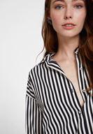 Women Mixed Cotton Shirt with Stripe