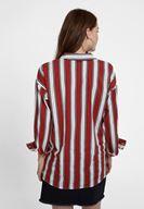 Bayan Çok Renkli Çizgi Desenli Pamuk Gömlek