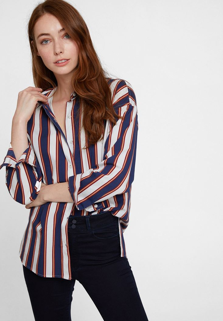 Navy Cotton Shirt with Stripe