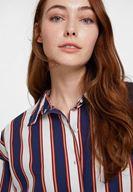 Bayan Lacivert Çizgi Desenli Pamuk Gömlek