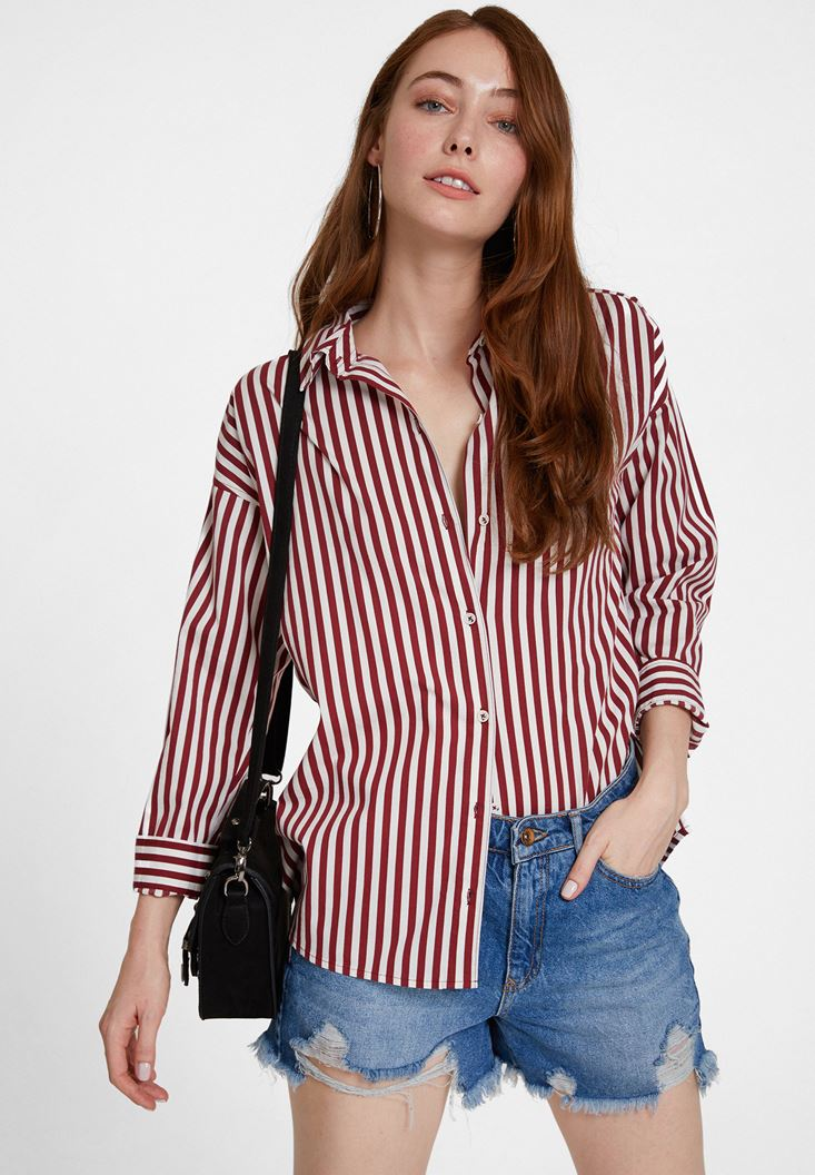 Mixed Cotton Shirt with Stripe