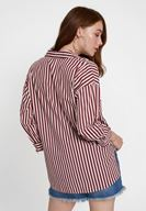 Women Mixed Cotton Shirt with Stripe
