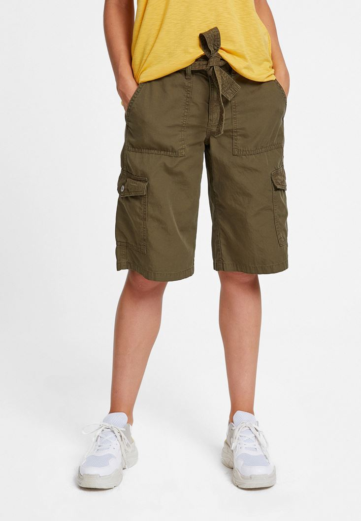 Green Cargo Shorts with Pockets