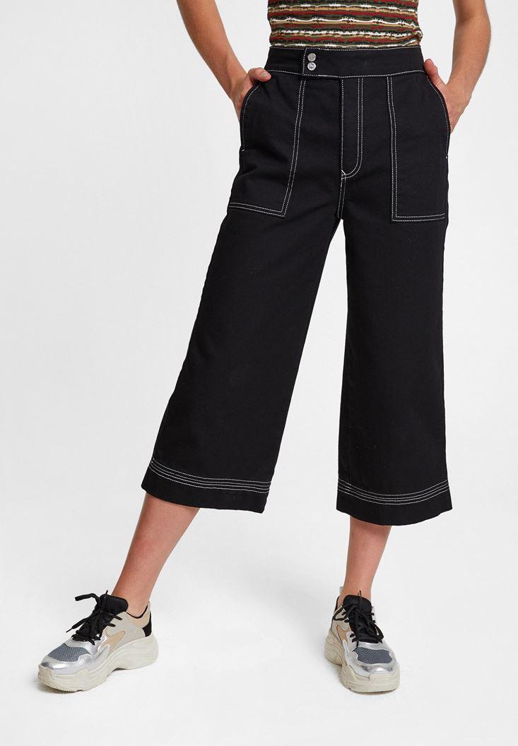 Siyah Yüksek Bel Cep Detaylı Bol Pantolon