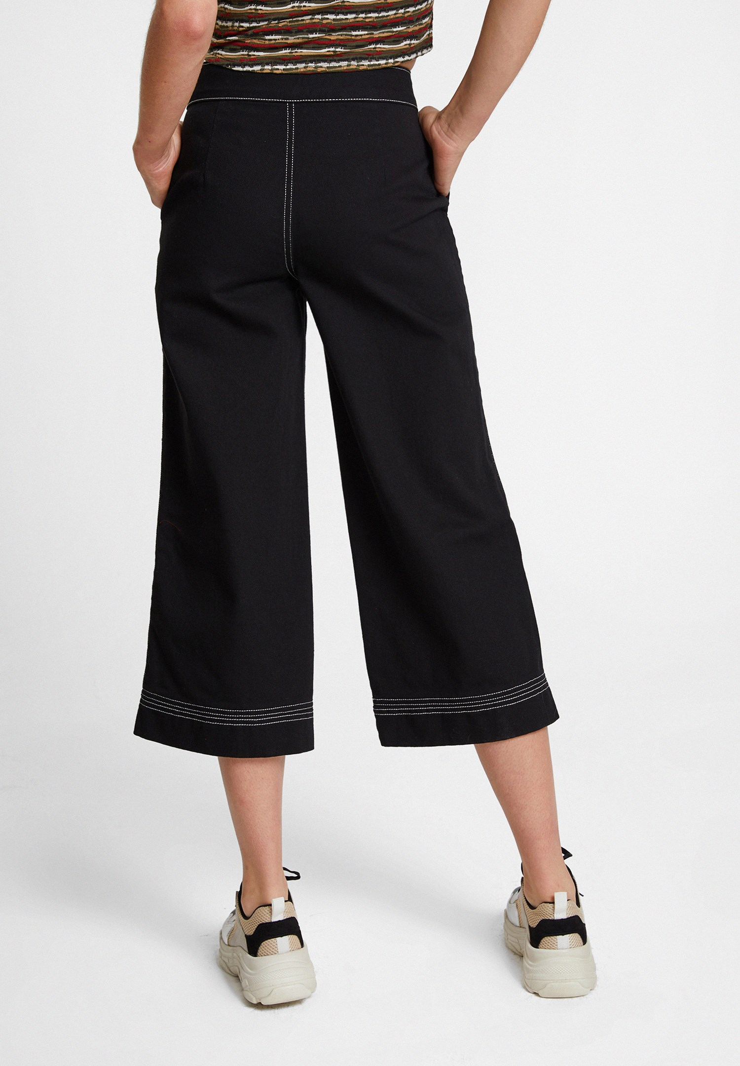 Bayan Siyah Yüksek Bel Cep Detaylı Bol Pantolon