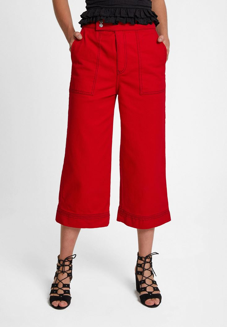 Red High Rise Pants with Pocket