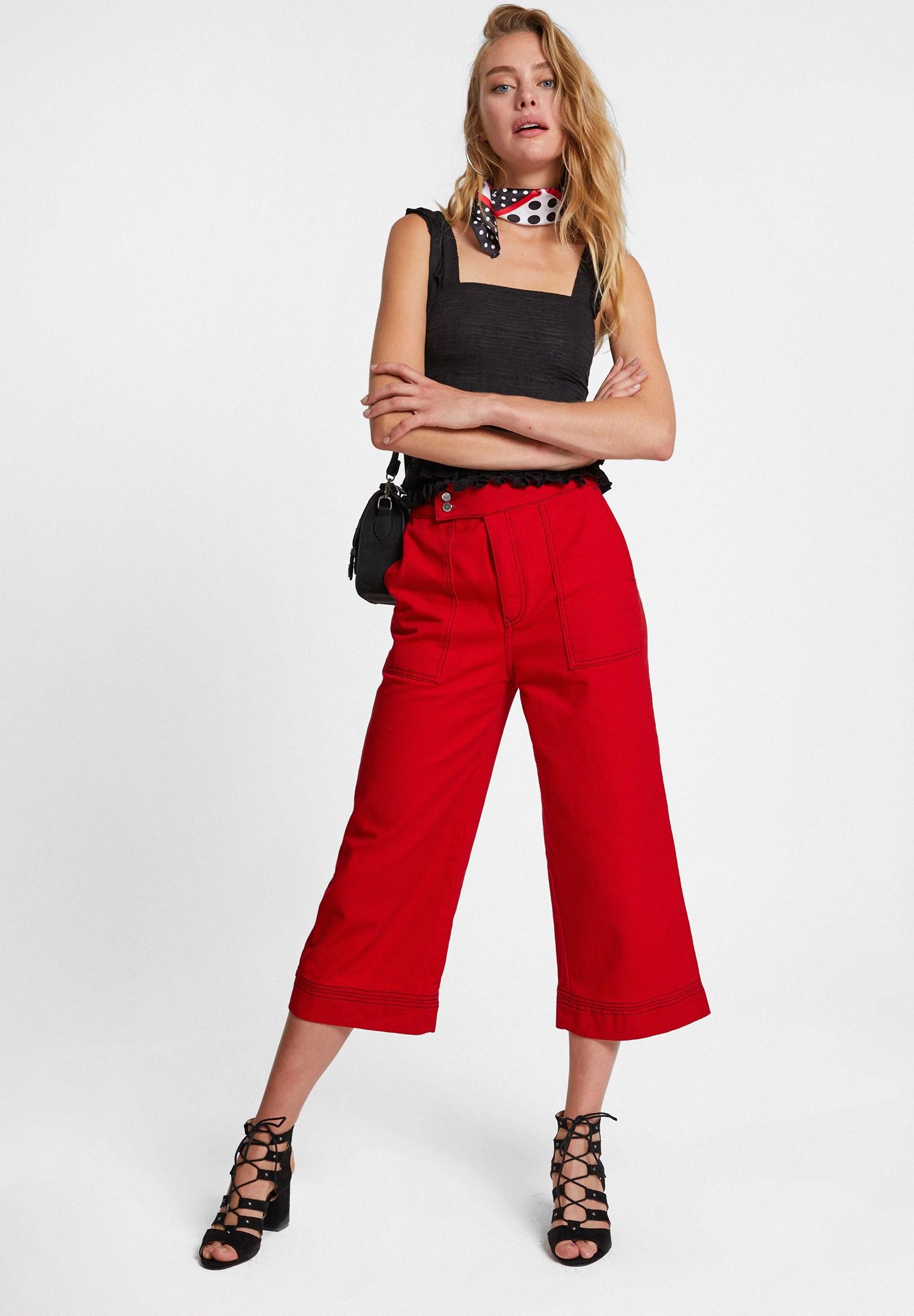 Bayan Kırmızı Yüksek Bel Cep Detaylı Bol Pantolon