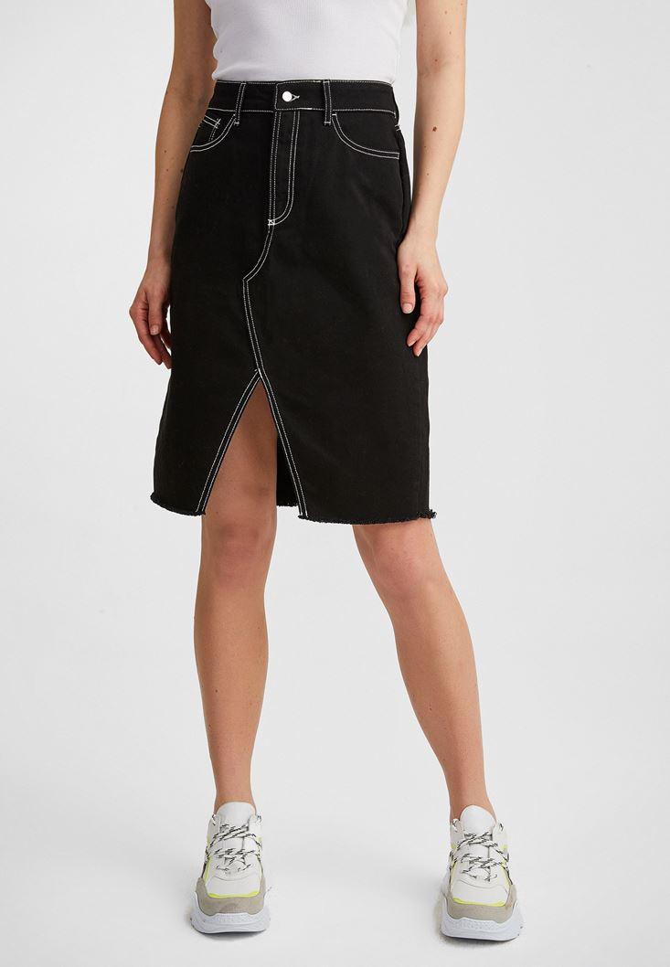 Black Skirt with Slash Details