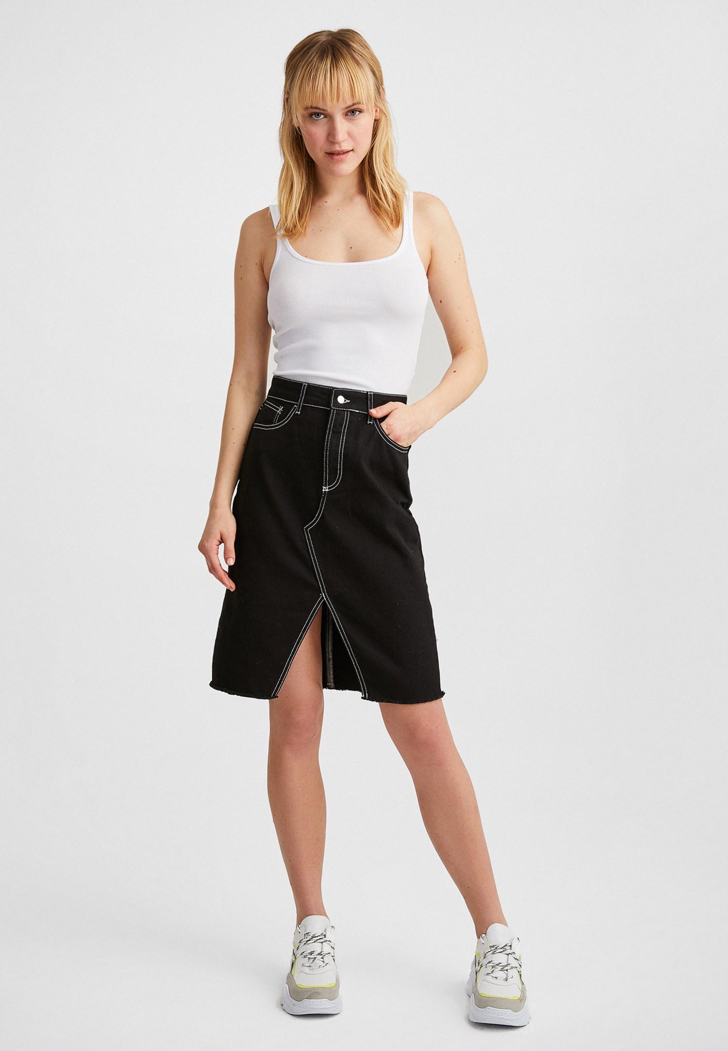 Women Black Skirt with Slash Details
