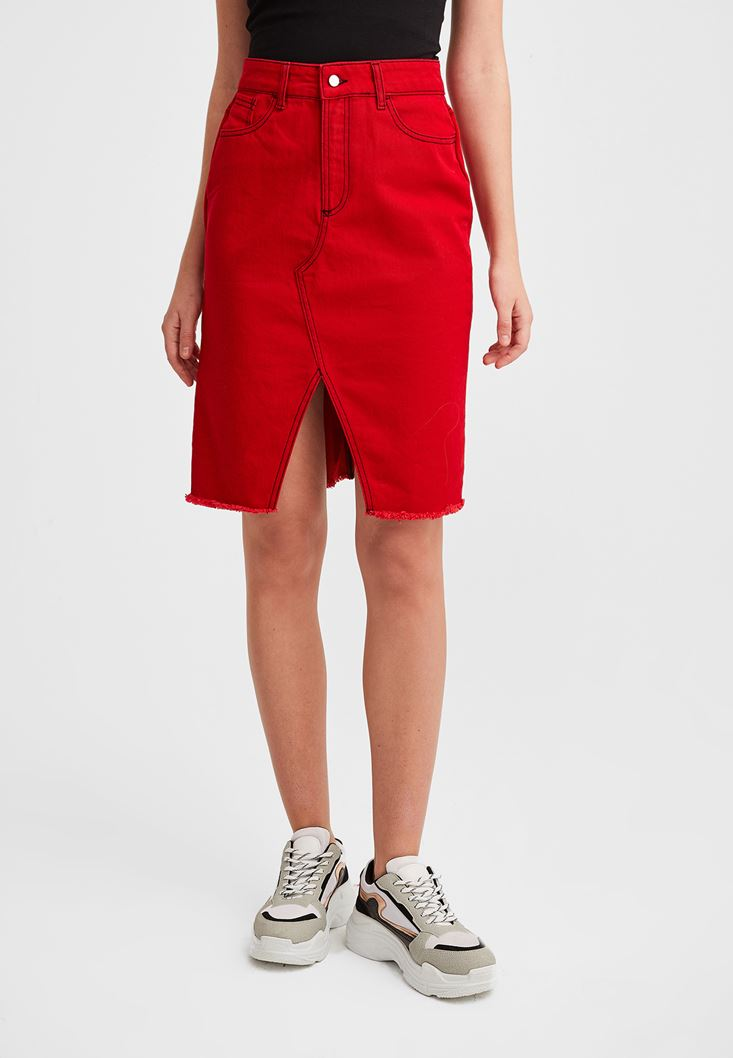 Red Skirt with Slash Details