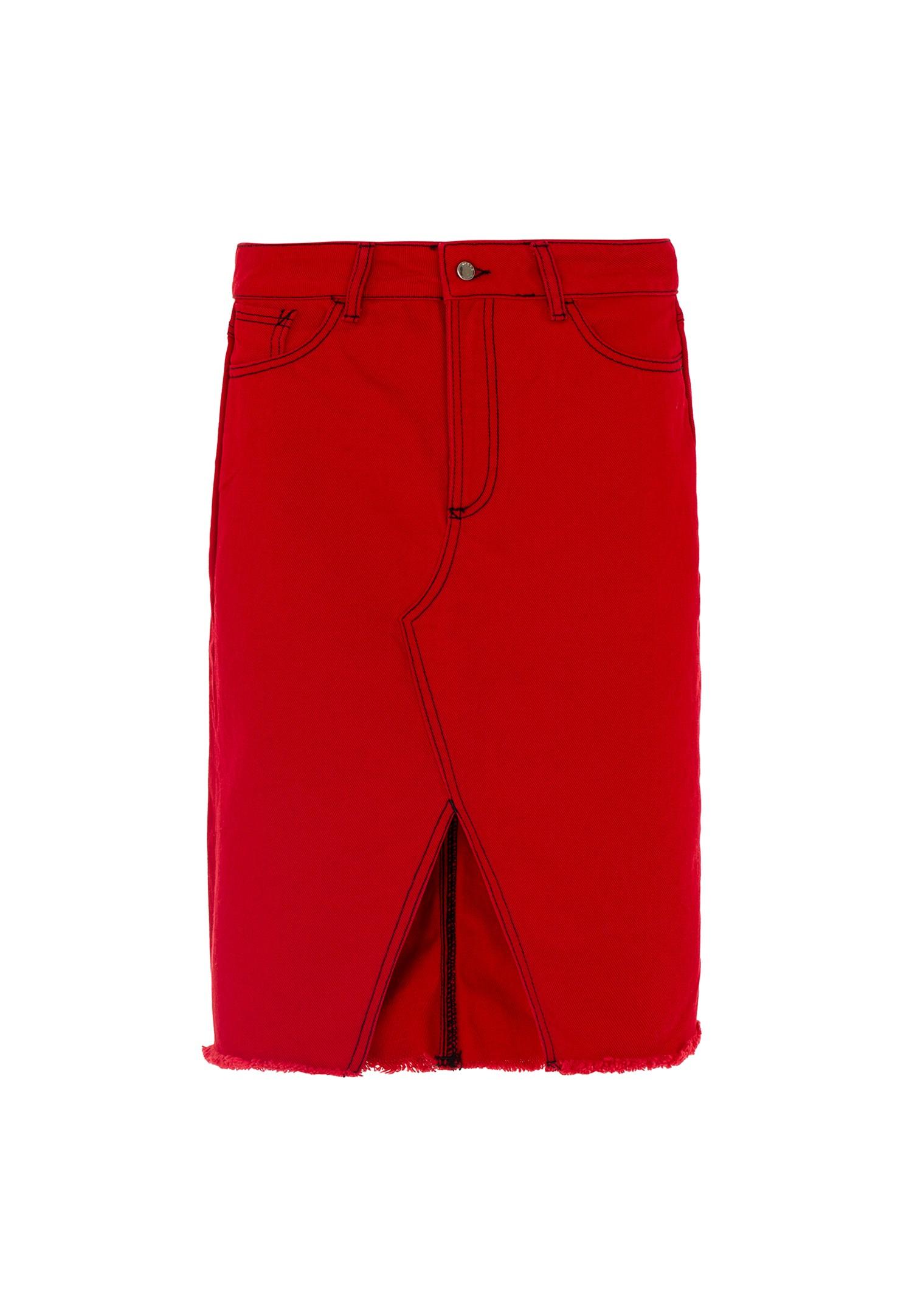 Bayan Kırmızı Yırtmaçlı Cep Detaylı Etek