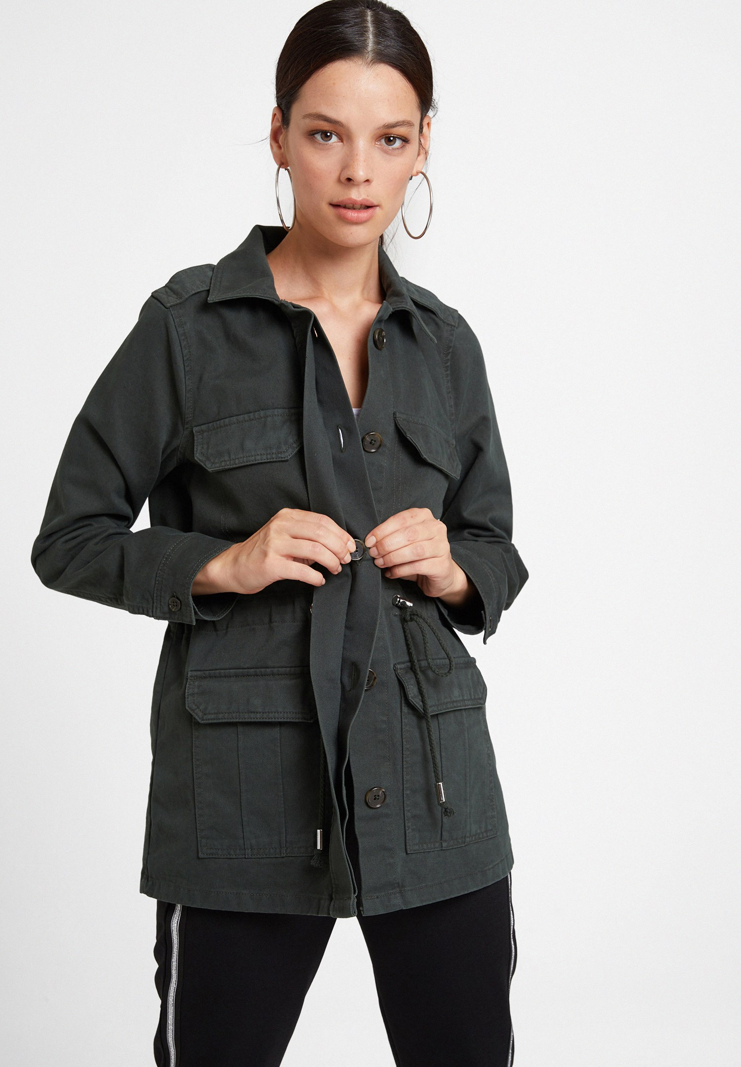 Women Green Jacket with Pocket