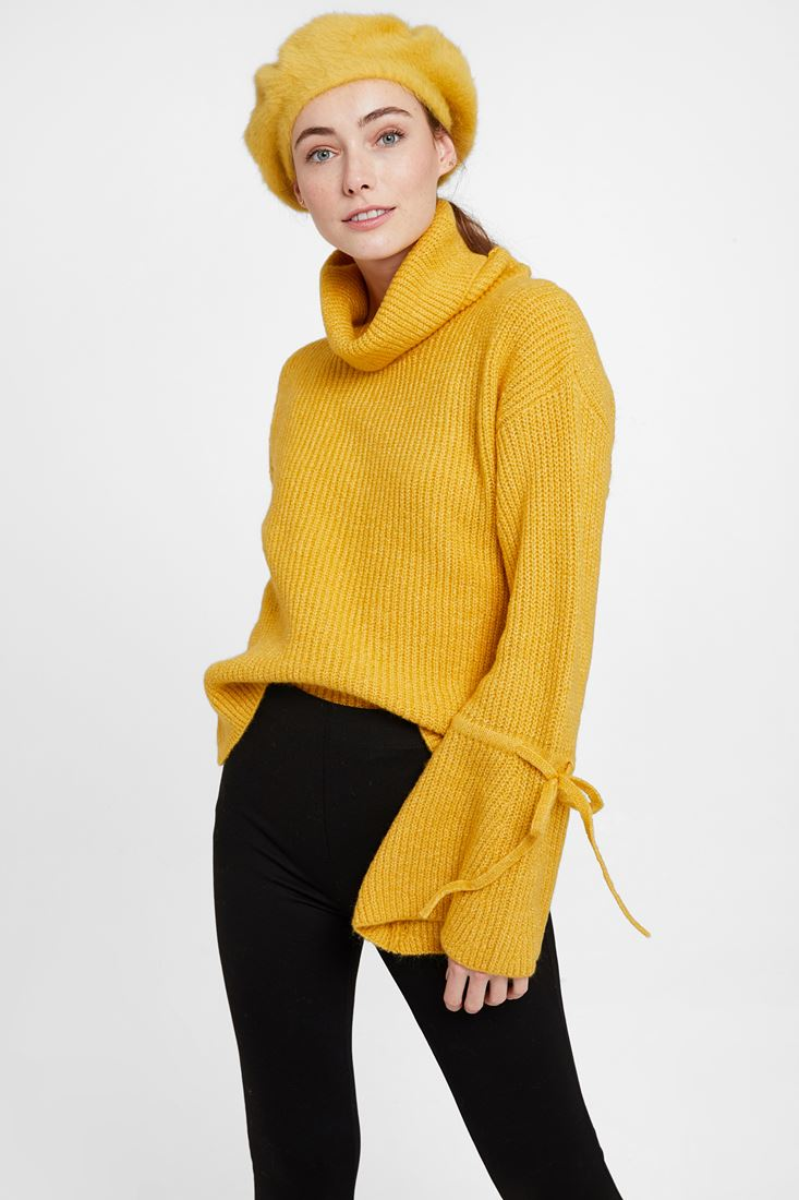 Yellow Pullover with Lacing Arm Detail