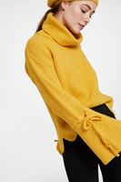 Women Yellow Pullover with Lacing Arm Detail