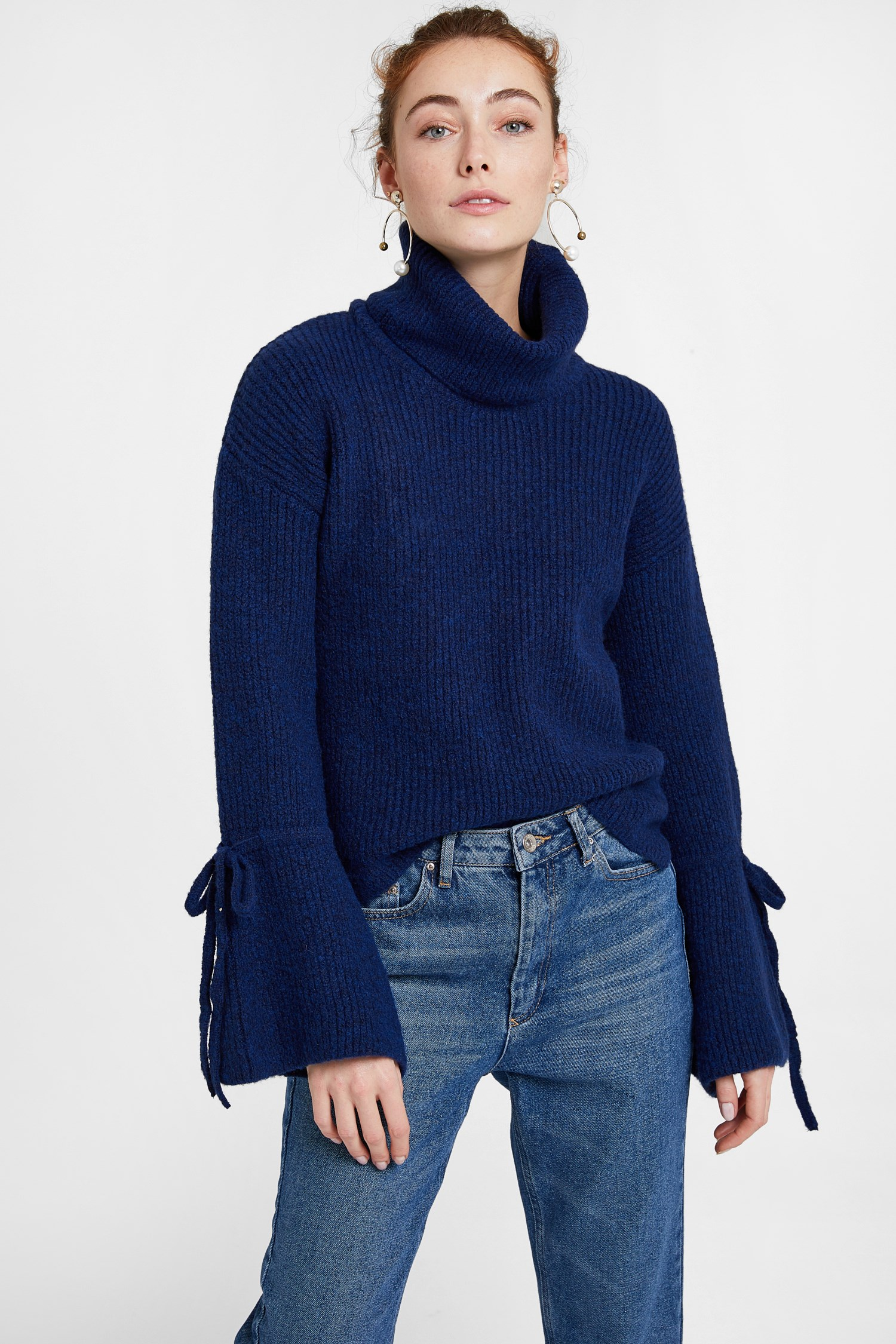 Women Navy Pullover with Lacing Arm Detail