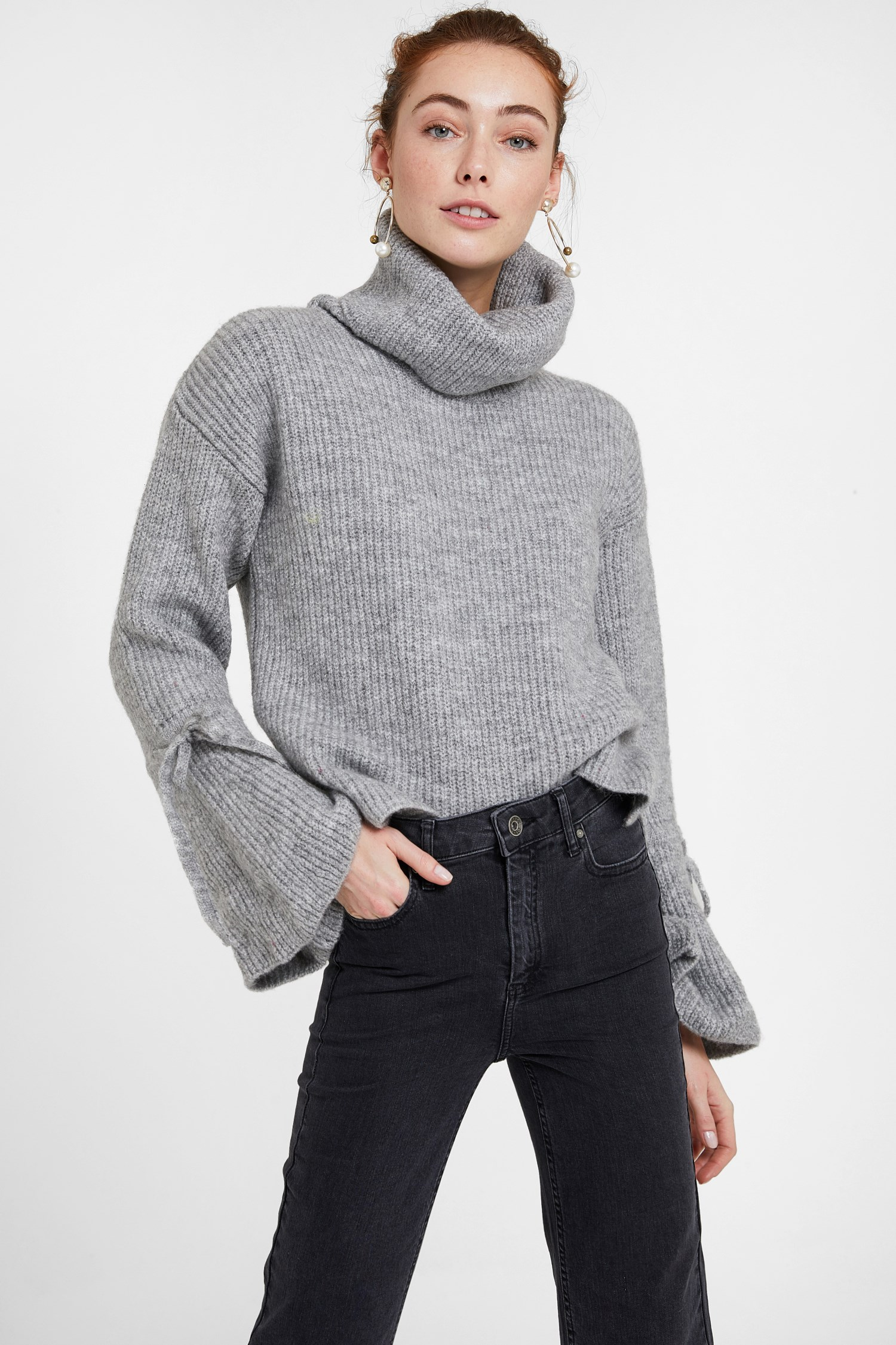 Women Grey Pullover with Lacing Arm Detail