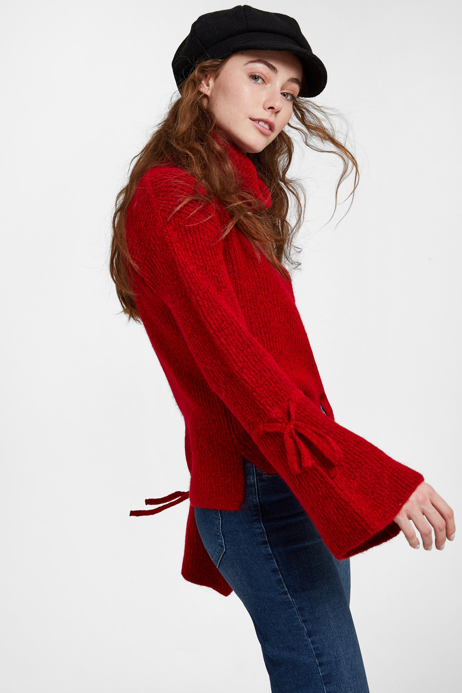 Women Red Pullover with Lacing Arm Detail