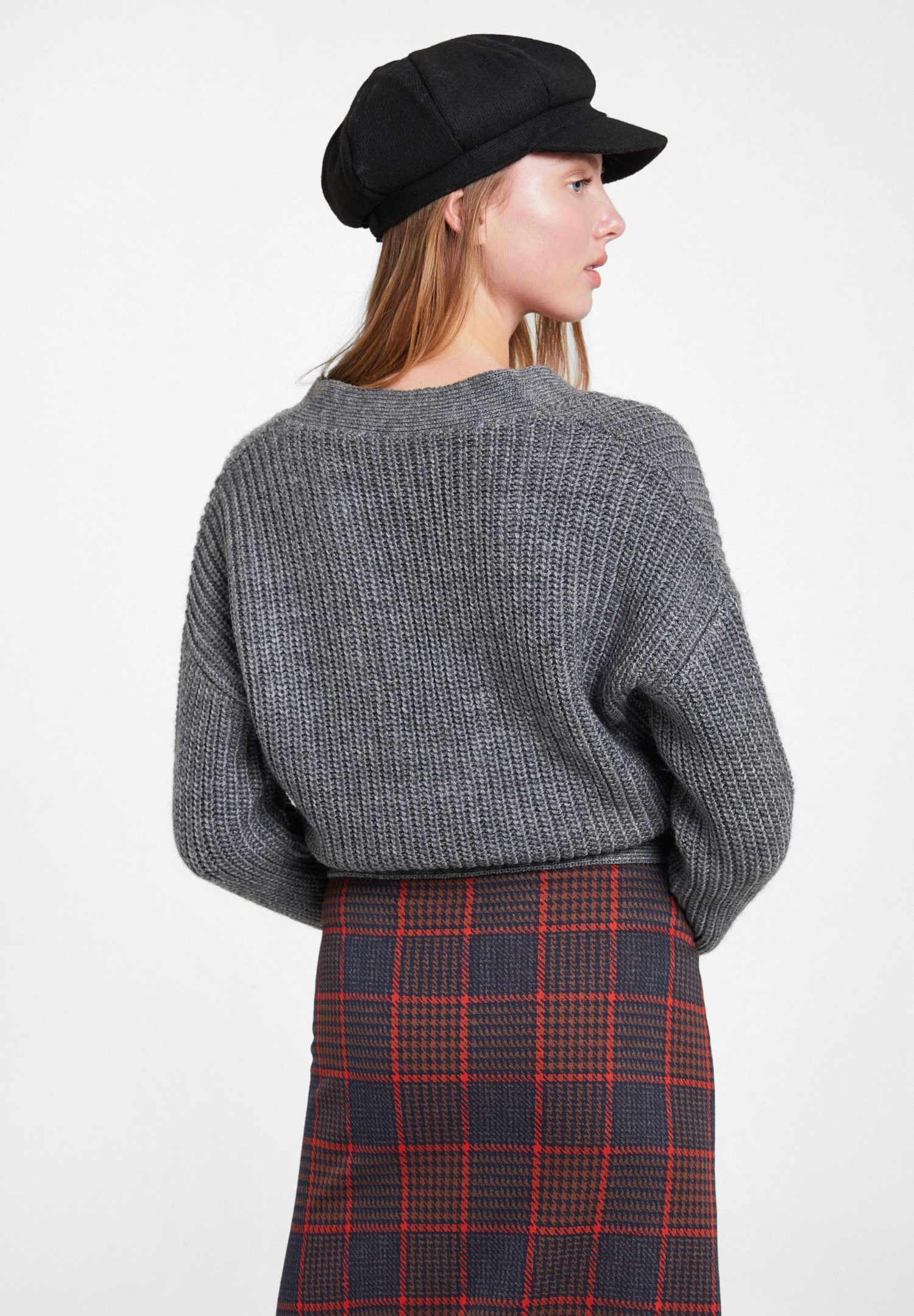 Women Grey Knitted Pullover with Buckle Detail