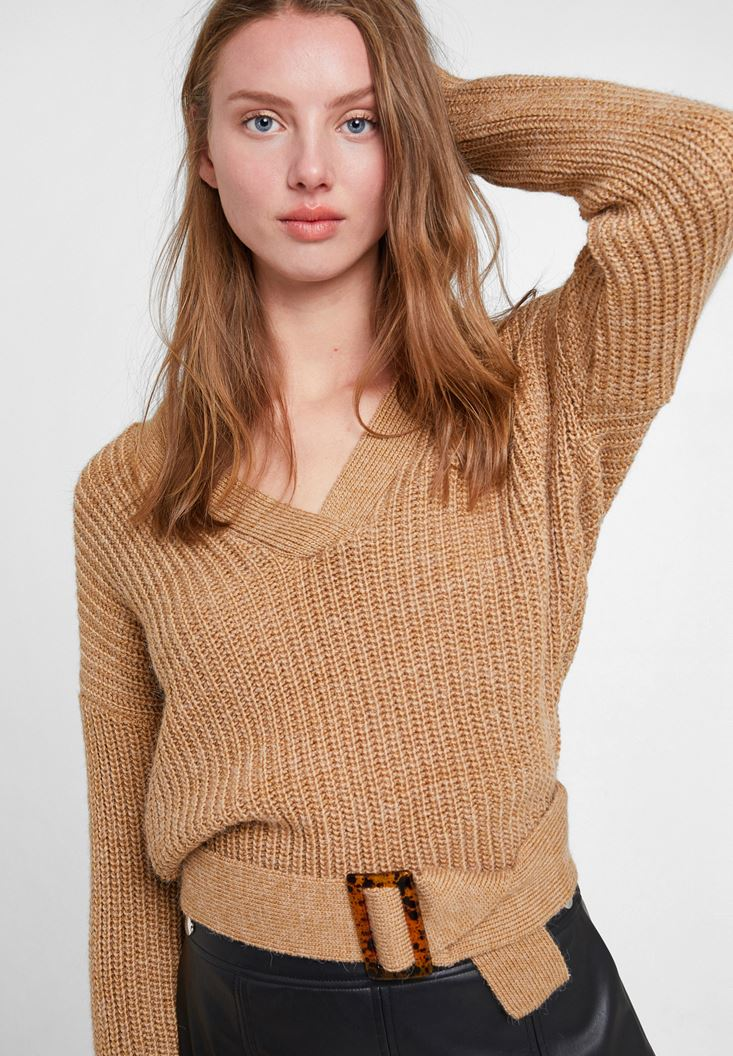 Brown Knitted Pullover with Buckle Detail