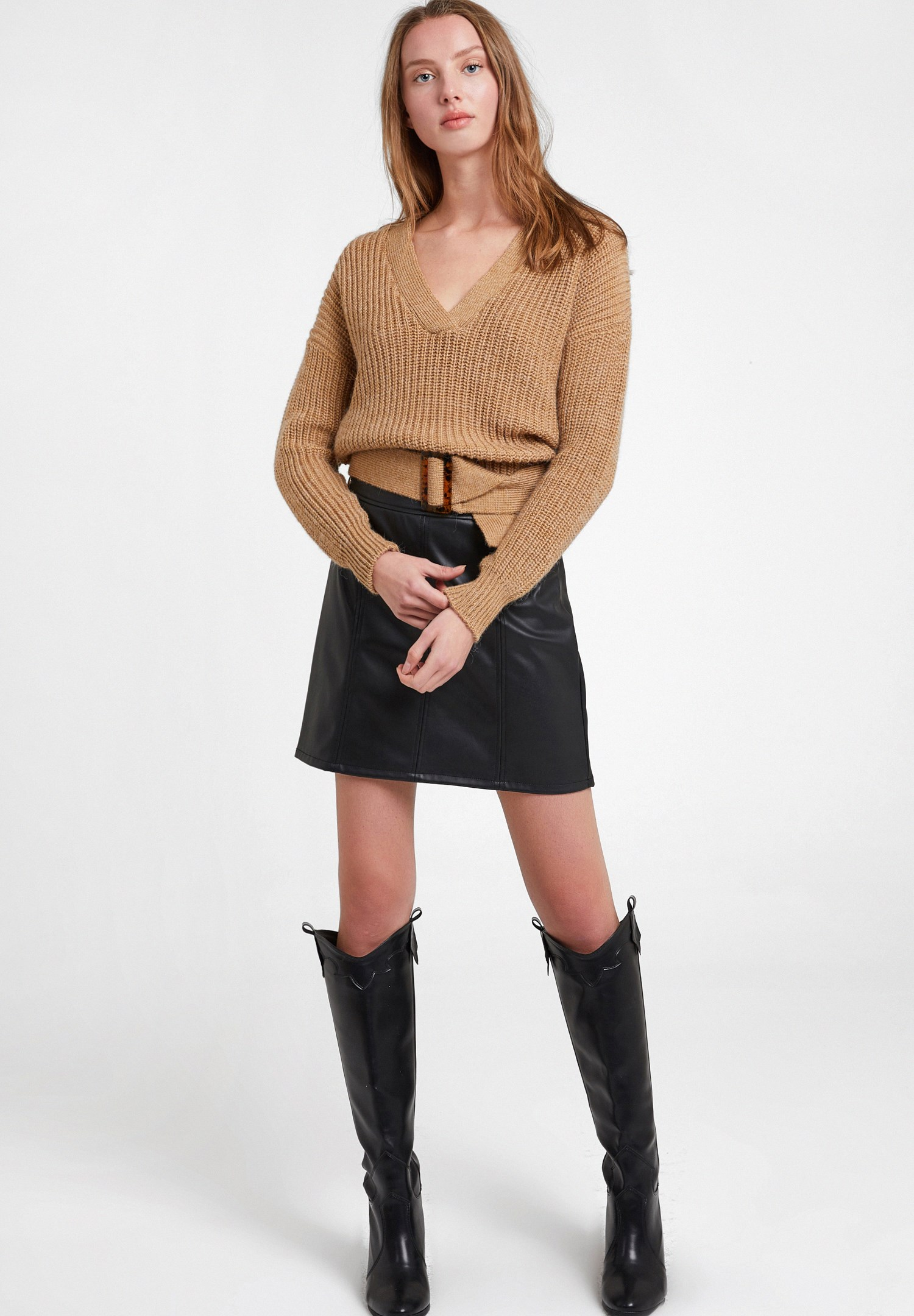 Women Brown Knitted Pullover with Buckle Detail