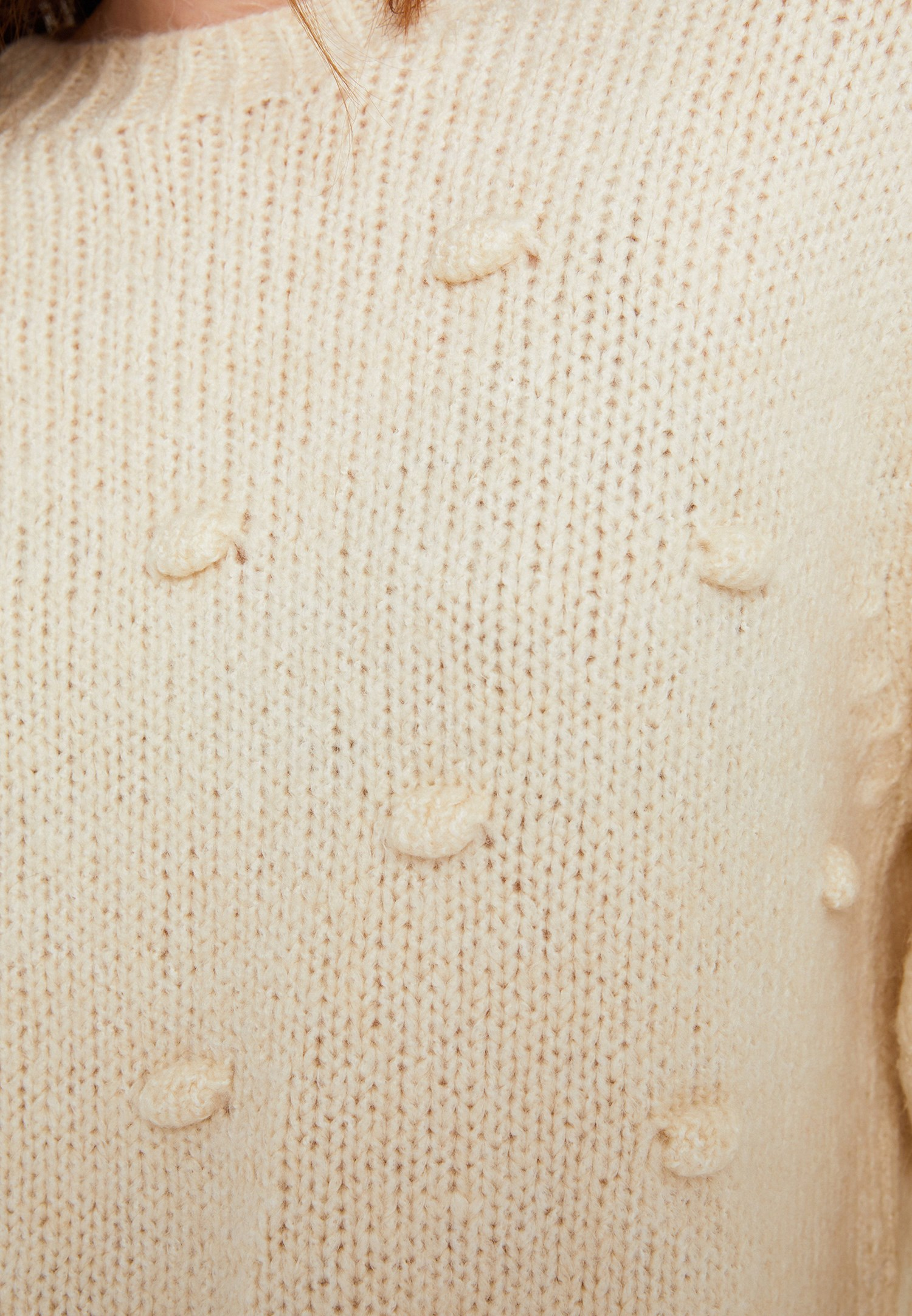Women Cream Knitwear with Pompon Details