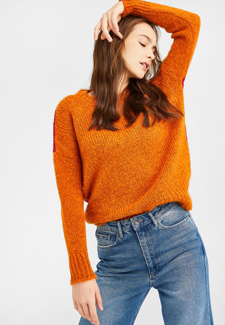Orange Knitted Pullover