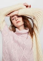Women Pink Block Pattern Knitwear with Neck Detail