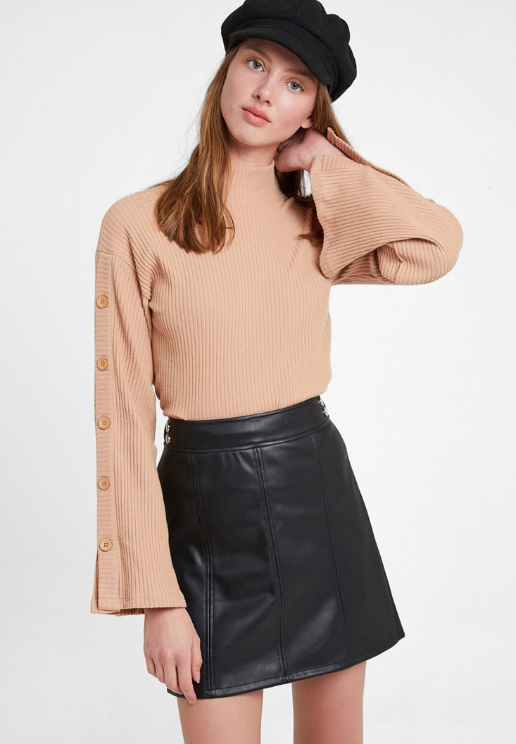 Flare Arm Pullover with Buttons