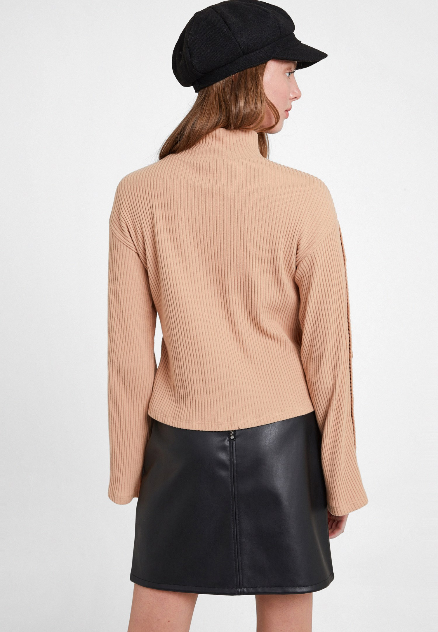 Women Brown Flare Arm Pullover with Buttons