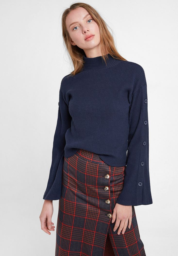 Navy Flare Arm Pullover with Buttons