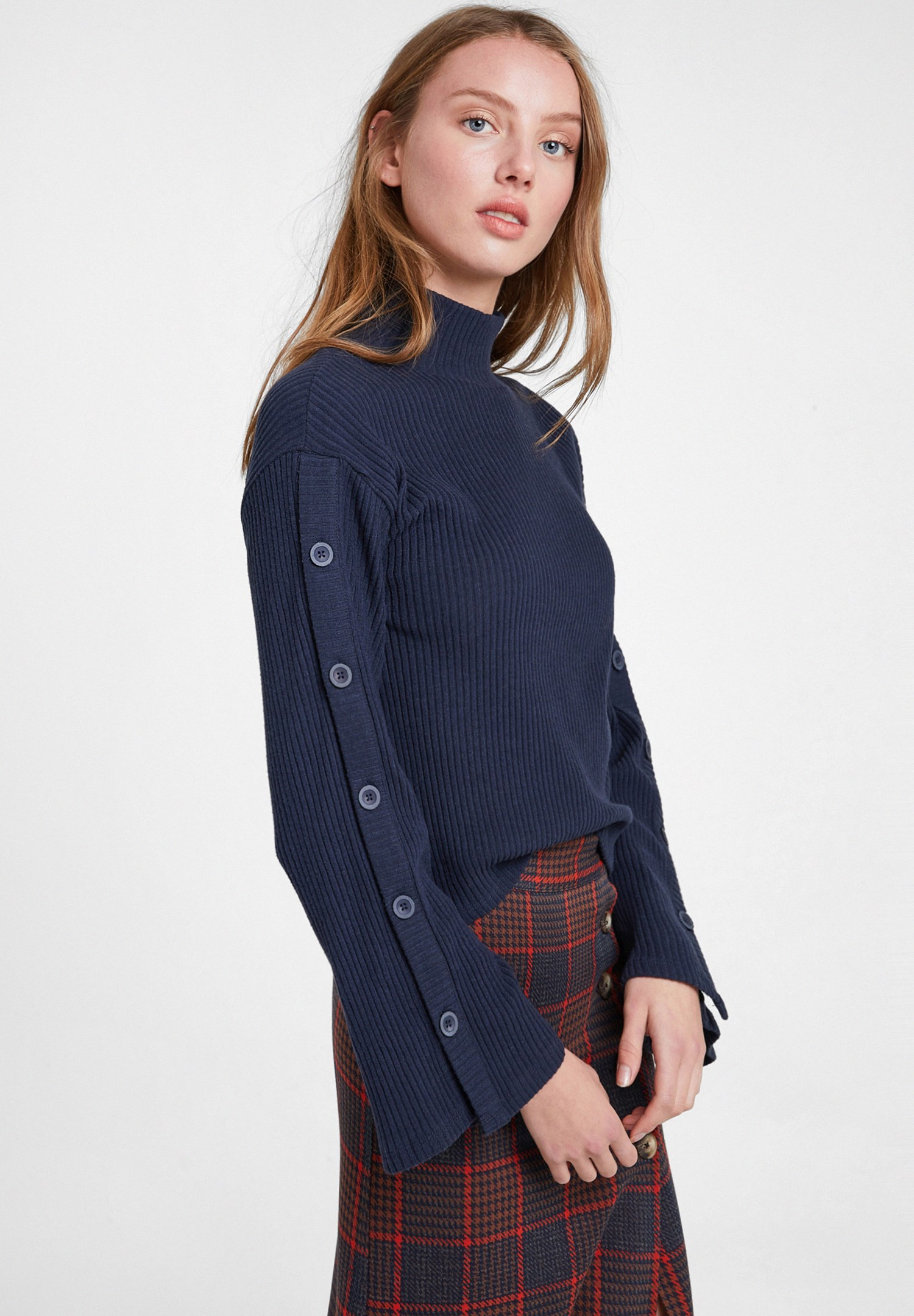 Women Navy Flare Arm Pullover with Buttons