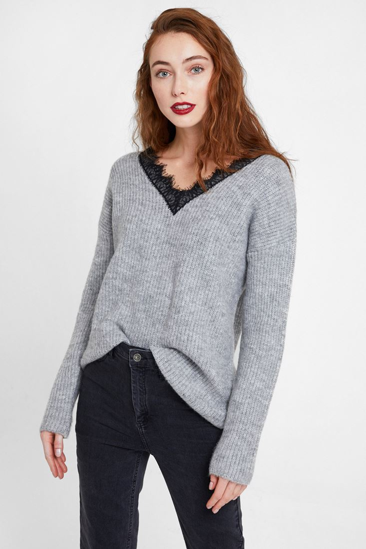 Grey Knitwear with V Lace Neck