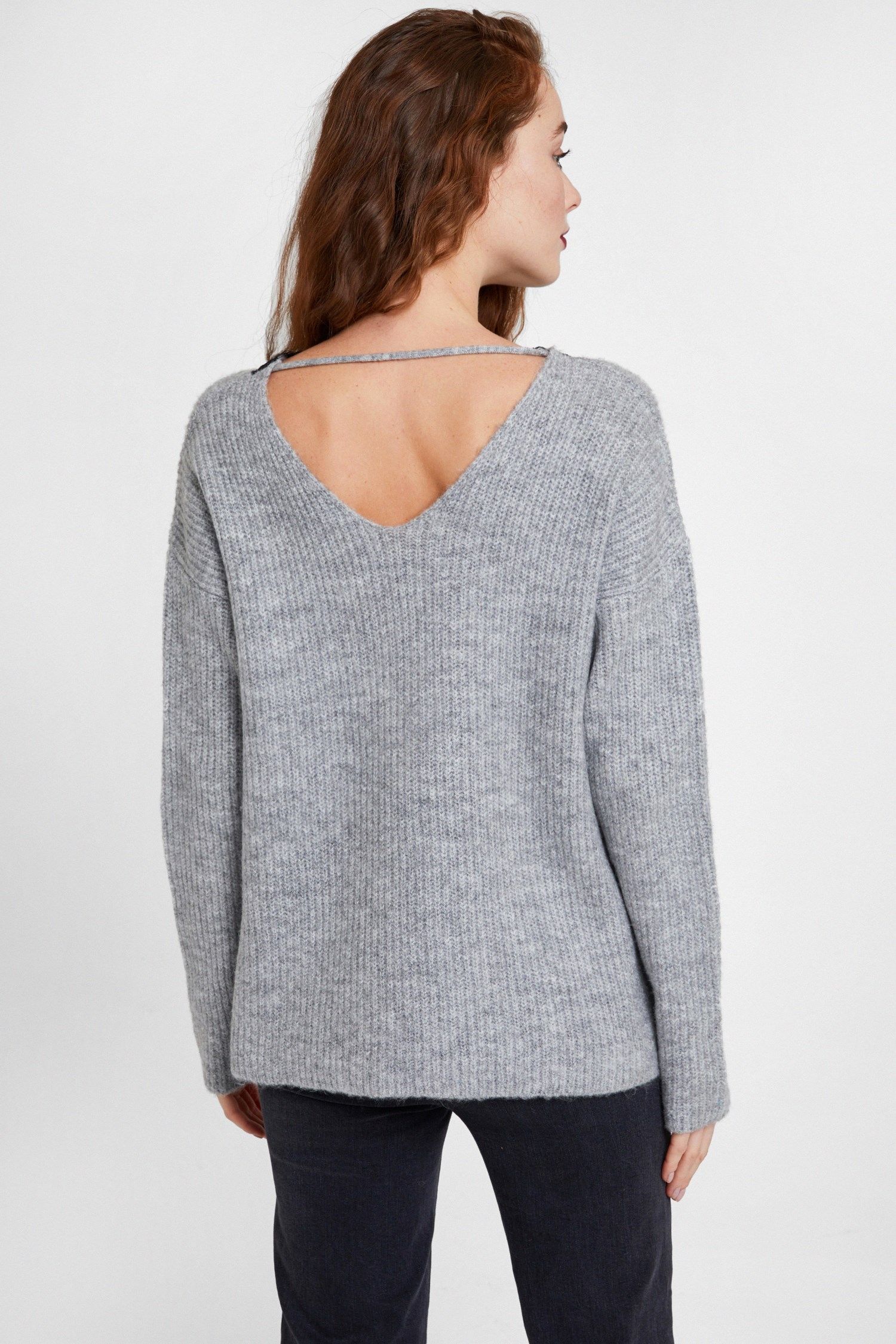 Women Grey Knitwear with V Lace Neck