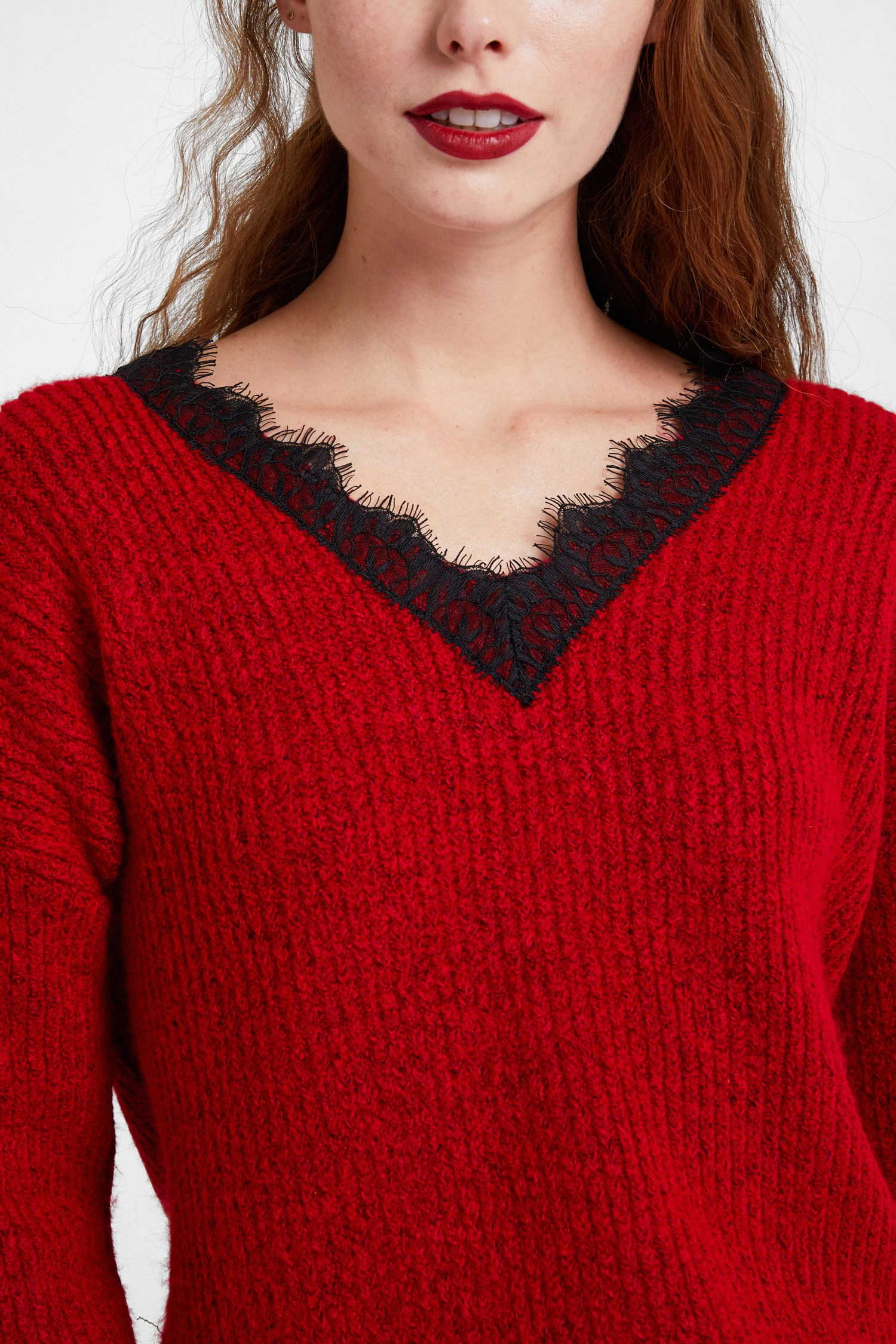 Women Red Knitwear with V Lace Neck
