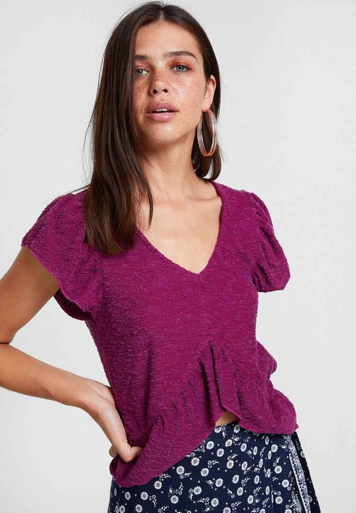 Bordeaux Textured Blouse with Ruffle Detail