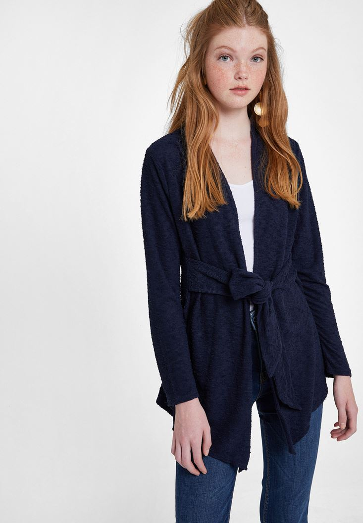 Navy Tie-Waist Cardigan with Texture