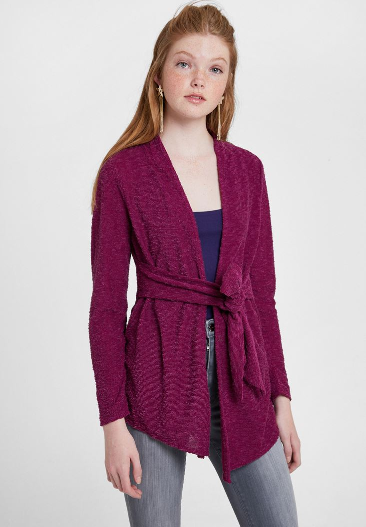 Bordeaux Tie-Waist Cardigan with Texture