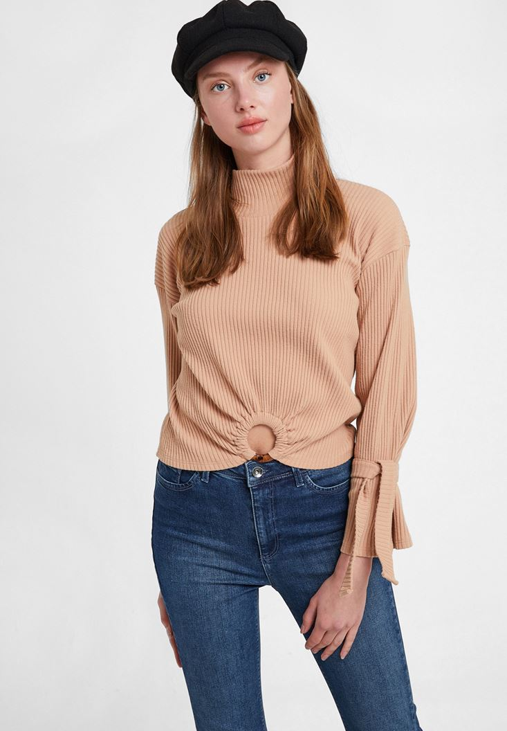 Brown Knitted Pullover with Hoop Detail