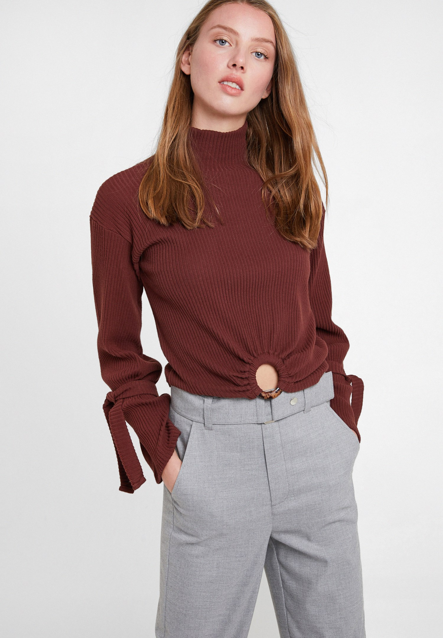 Women Brown Knitted Pullover with Hoop Detail