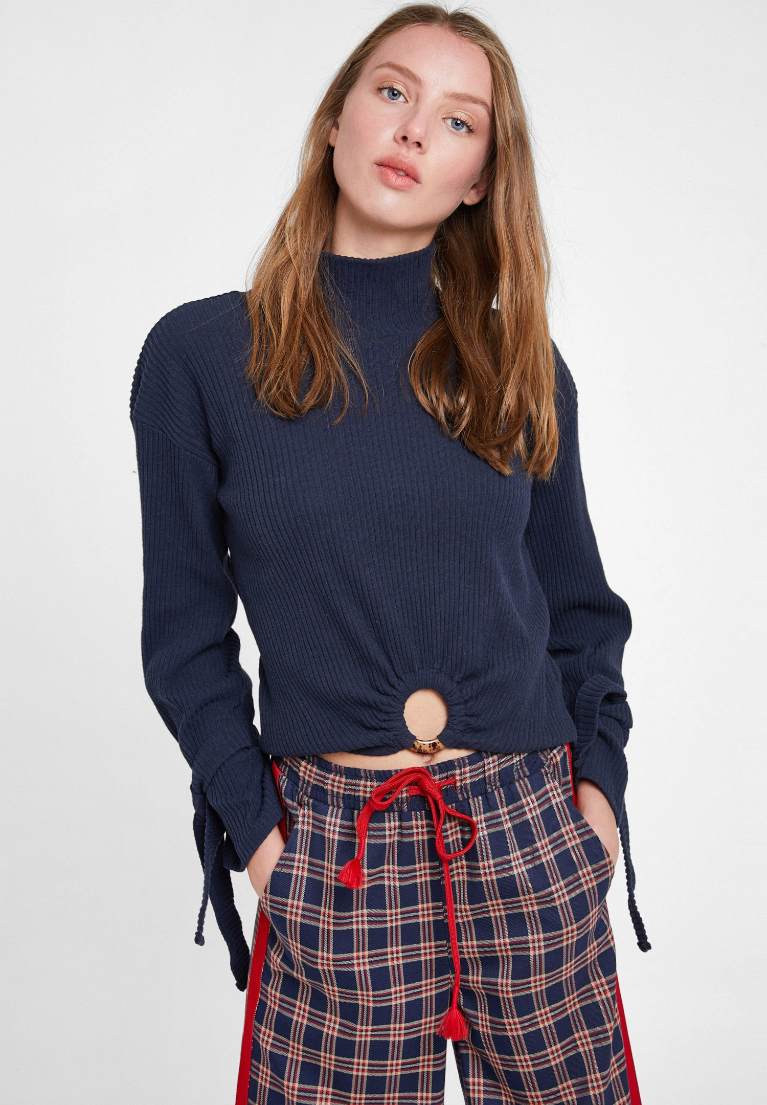 Women Navy Knitted Pullover with Hoop Detail