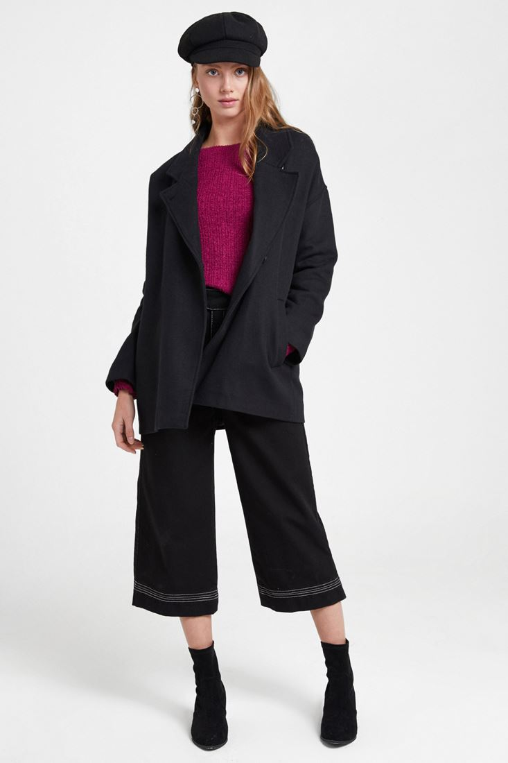 Black Overcoat with Buttons Detail