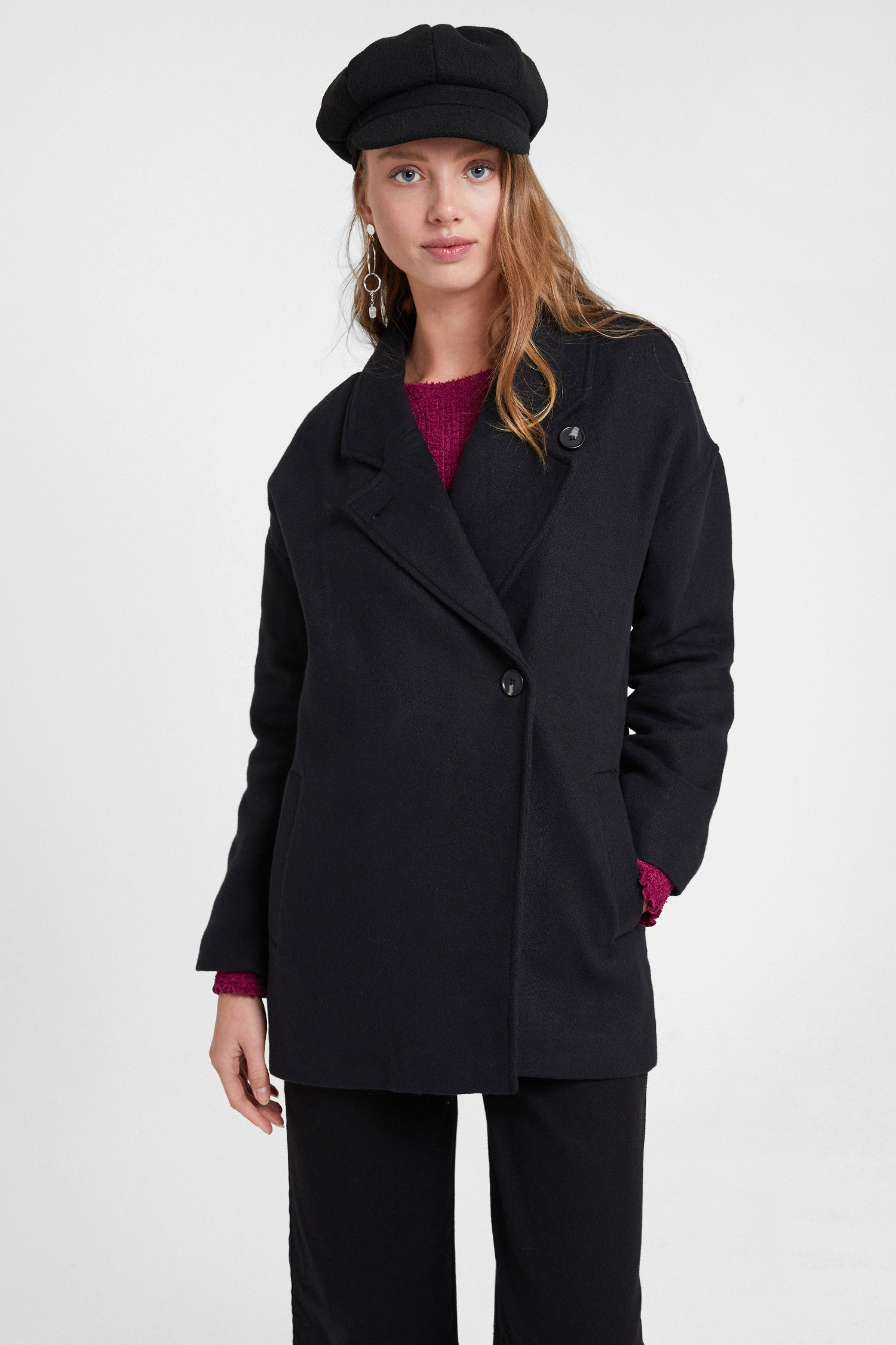 Women Black Overcoat with Buttons Detail