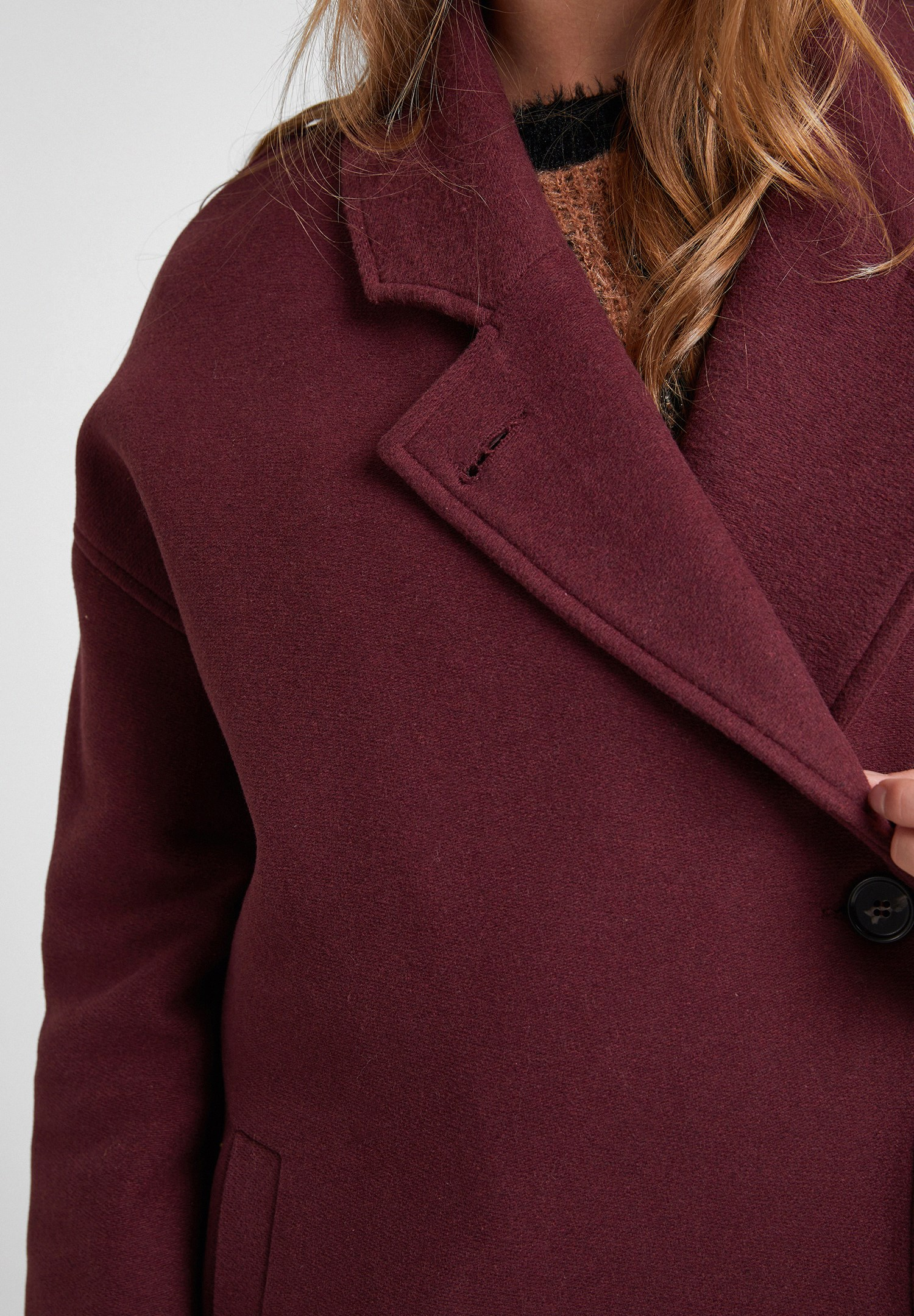 Women Purple Overcoat with Buttons Detail