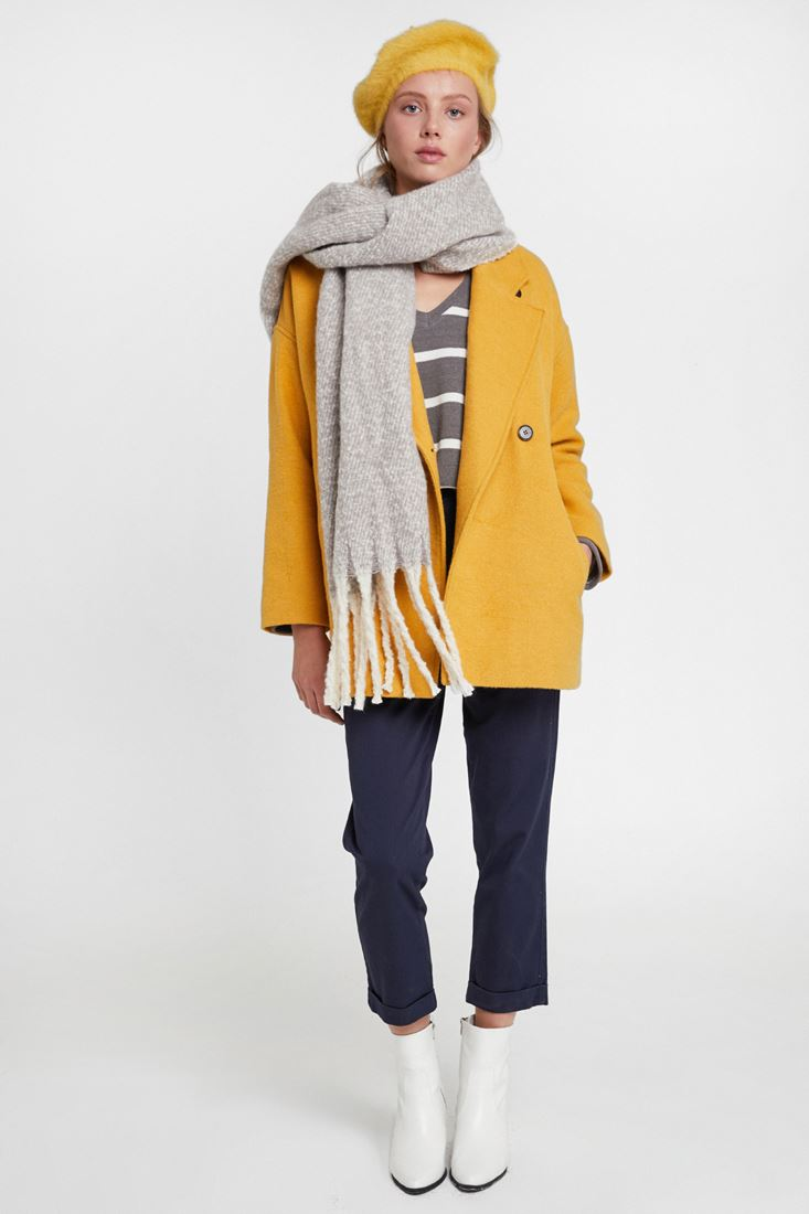 Yellow Overcoat with Buttons Detail