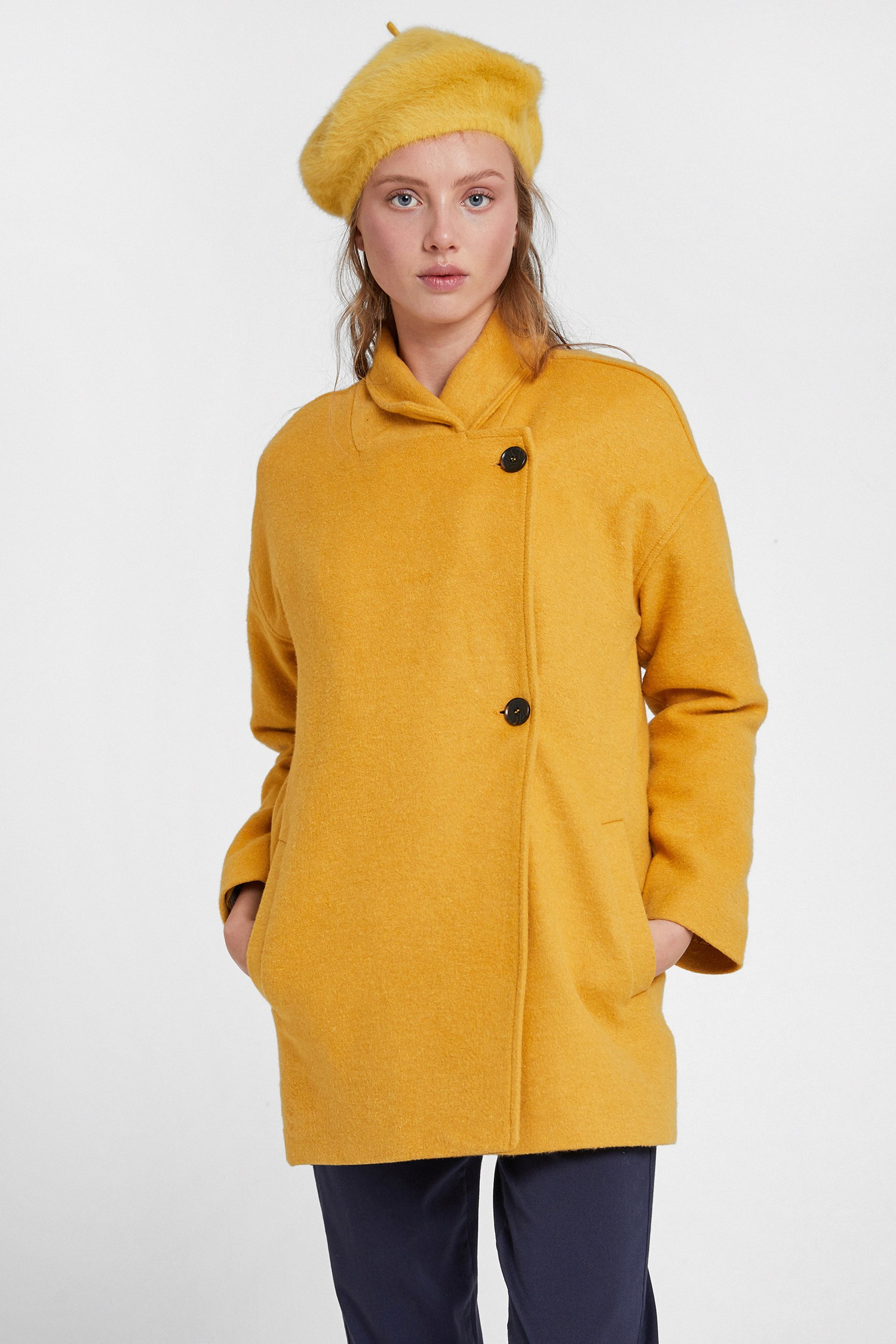 Women Yellow Overcoat with Buttons Detail