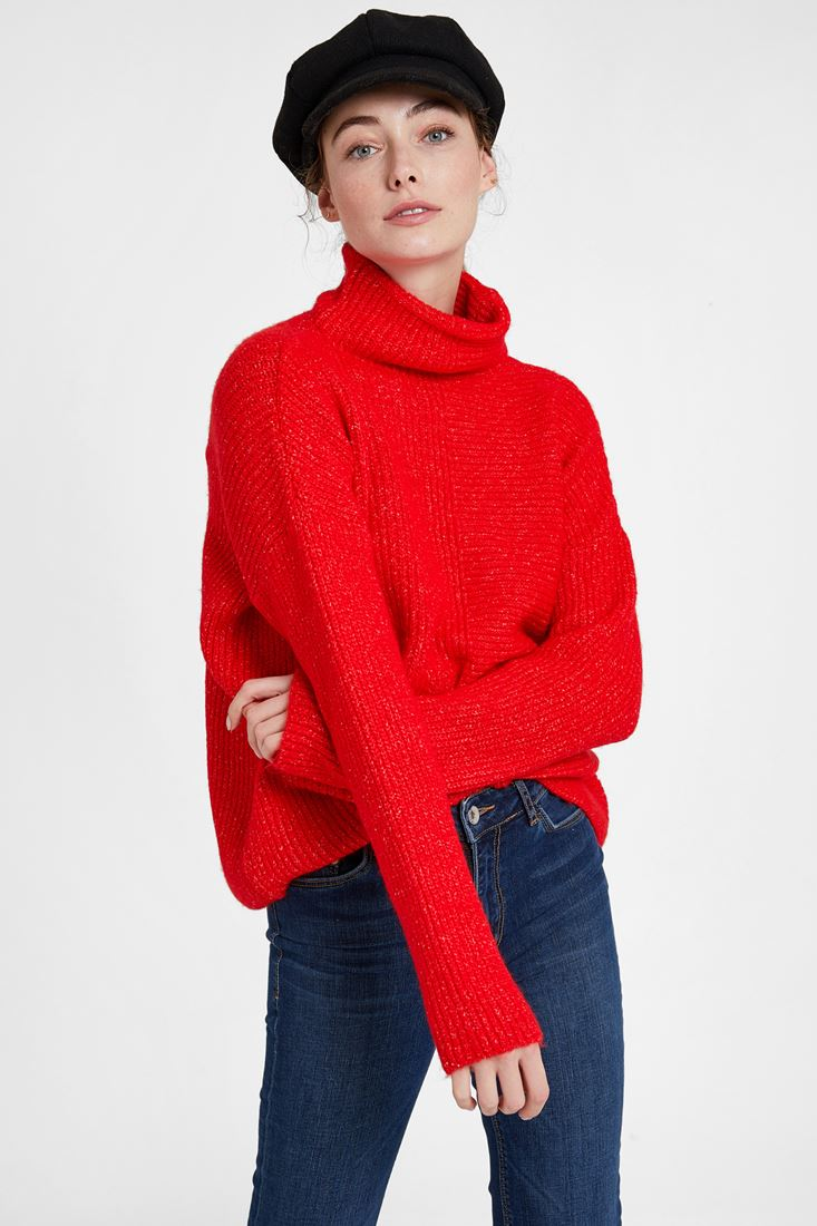 Red Pullover with Line Texture