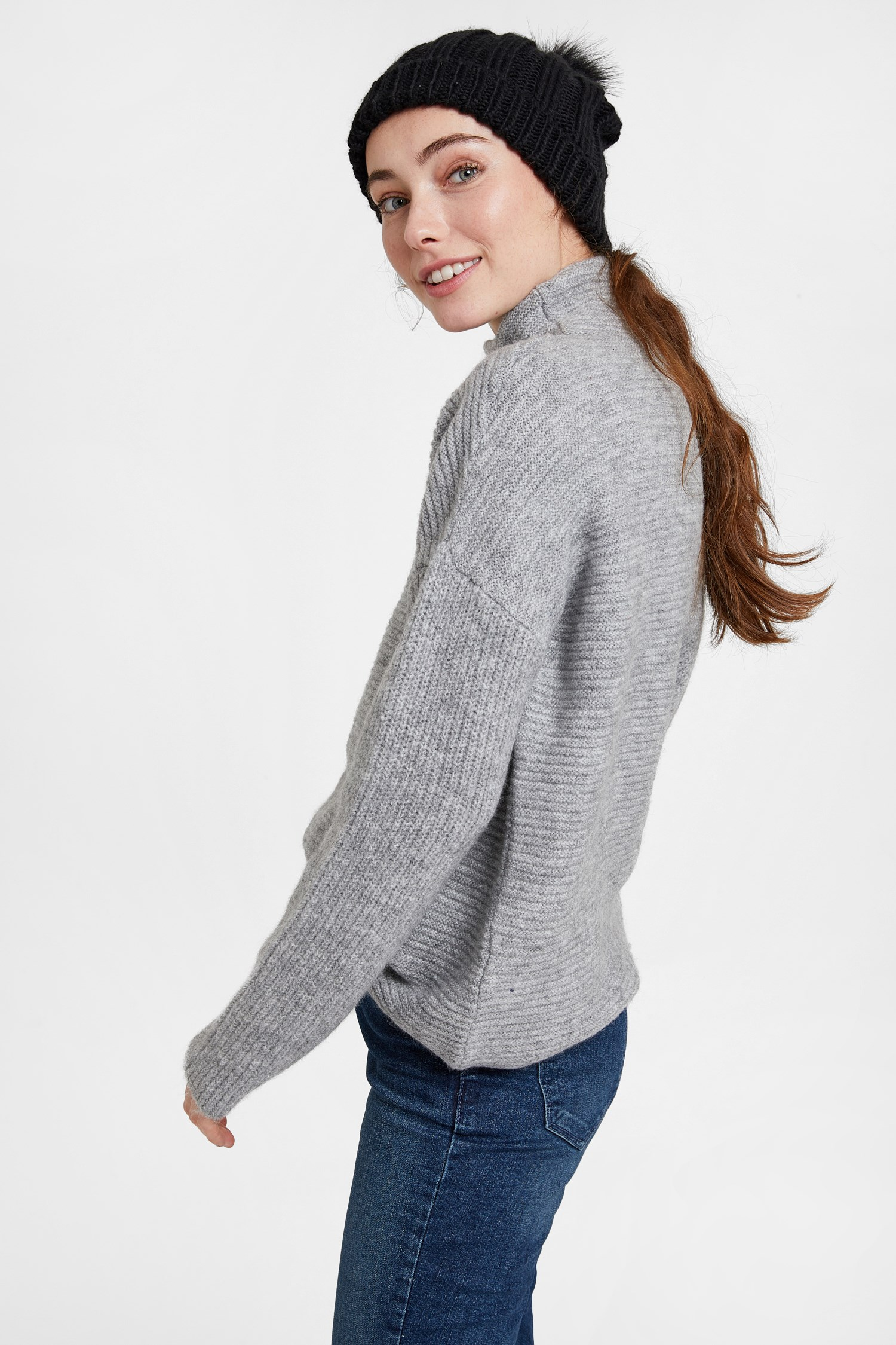 Women Grey Pullover with Line Texture