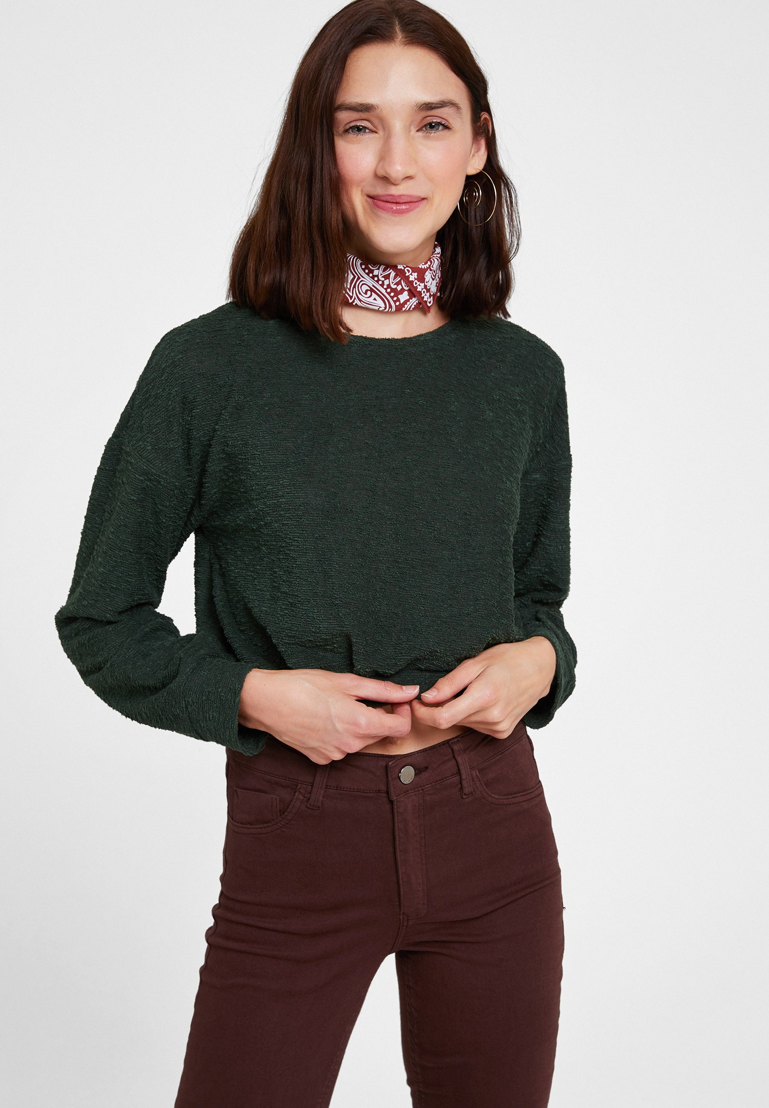 Bayan Yeşil Uzun Kollu Dokulu Triko